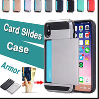 Card Slides Case Hybrid Armor 2 in 1 Dual Layer Shockproof H...