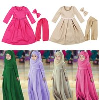 Muslim Girls Childrens Dresses Scarf Bow Clothing 3pcs Sets ...