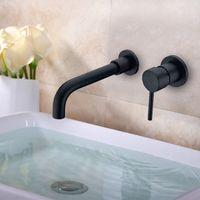 Матовый черный латунный настенный смеситель для бассейна с одной ручкой Смеситель горячей и холодной воды