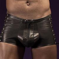 Erkekler Seksi Külot Siyah Faux Deri Boxer Şort Sahne Performansı Yenilik Dantel Up Perçin Fermuar Külot Bandaj Şort