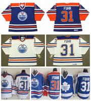 Edmonton-Öleer Grant Fuhr Hockey-Trikots 1987 CCM Vintage 31 Grant Fuhr Jersey Toronto Ahornblätter genäht
