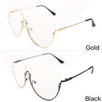 2017 Nova Moda Óculos de Armação Das Mulheres Maré Personalidade Metal Metade-Armação Dos Óculos Decorar Moldura Legal Moldura Redonda de Ouro E Preto