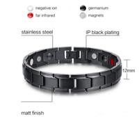 Mode Santé Énergie Bracelet Bracelet Hommes Noir Bijoux Titane En Acier Inoxydable Bio Bracelet Magnétique Pour Homme gratuit par dhl