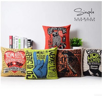 Creative graffiti Fashion Bar Nordic cotton pillow case Line...
