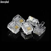 5000pcs / lot de haute qualité RJ-11 6P4C 6P2C Fiche modulaire Téléphone Téléphone connecteur RJ12 6 broches 6 contacts cristal adaptateur de tête