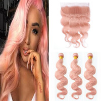 Fashion Peuvian Pink Hair Weaves With Lace Frontal Closure 4...