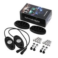 """세트 4 포드 RGB LED 락 라이트 키트 3 """"9W 3LED 크리 칩 블루투스 컨트롤 음악 플래시 Timming 컬러 변경 가능 Offroad SUV JEEP 요트 모터"""