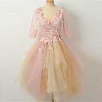 Short Pink Tulle Formal Evening Party Dress Floral Mother Da...