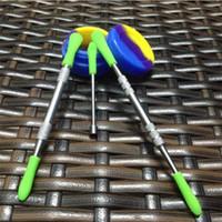 실리콘 상단 dab + 실리콘 항아리 왁스 도구, 금연 손톱 스틱과 도매 금속 dab 도구 왁스 dabber 도구
