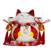 Genuine China große japanische Lucky Cat rot Fan Katze Ornamente große Glasöffnung / Hochzeitsgeschenk