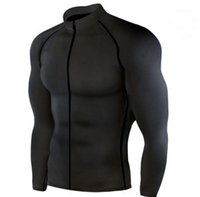 Male zipper long sleeves tight top men' s quick work spo...
