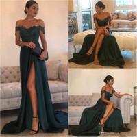 Dunkelgrün 2021 Sexy Ballkleider eine Linie Chiffon außerhalb der Schulter bodenlangen Hochseiten Split Spitze Elegantes langes Abendkleid formelles Kleid