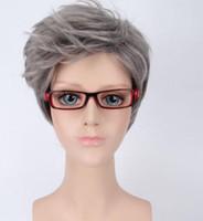 Светло-серый короткий вьющийся серый без шапки синтетический парик волнистые волосы парик косплей