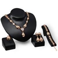 골드 컬러 신부 들러리 쥬얼리 세트 의상 오스트리아 크리스탈 드롭 목걸이 귀걸이 팔찌 반지 결혼식 액세서리 아프리카 비즈
