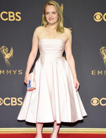 Elisabeth Moss with Strapless Tea-Length Evening Dresses 69th Emmy Awards Celebrity Party Gowns A-Line Satin Prom Dreses