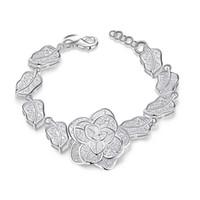 Moda 925 Sterling Silver Rose Flor charme Pulseira mulheres de alta qualidade 8 polegada de comprimento FRETE GRÁTIS 10 pcs