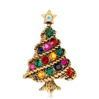 패션 크리스마스 트리 브로치 빈티지 합금 화려한 크리스탈 라인 석 브로치 핀 크리스마스 선물 쥬얼리 DHL 무료 배송