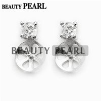 5 Pairs Classic Earring Mountings 925 Sterling Silver Zircon...