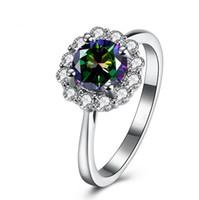 Gros bijoux de mode en or blanc 18 carats rempli solitaire multistone CZ diamant améthyste rubis femmes bande de mariage bague pour amant gif