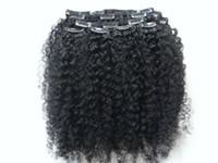 브라질 인간의 처녀 레미 클립 인 머리 확장 곱슬 곱슬 머리 씨실 제트 블랙 1 # 색상