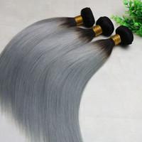 Ombre grigio tessuto dei capelli umani capelli lisci brasiliani di viegin fasci di colore grigio dei capelli di due toni fasci di alta qualità best seller
