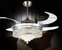 Unsichtbare Led Kristall Deckenventilatoren Mit Lichter Moderne  Schlafzimmer Wohnzimmer Falten Deckenventilator Fernbedienung Lampe  Kronleuchter ...