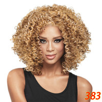 Cheap Wig Fashion Short Bob Afro Curly Fluffy Synthetic Hair...