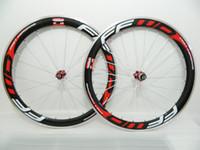Superfície do freio da liga FFWD Roda de carbono 50mm Clincher Road Bike Wheelsets Rodas de alumínio do carbono Vermelho powerwary R13 cubo vermelho mamilos branco falou