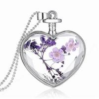 Damenmode trocken Blume Liebe Herz Glasflasche Anhänger Halskette Vergiss mich nicht Damen Schmuck