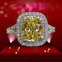 Moderne Mi-Steine Ring Luxus 2ct Kissen Cut Gelb Edelstein Halo Simuliert Diamond 925 Silber Für Frau Überzogene Weißgold Verlobungsringe Mode-Sammlung