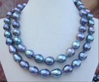 """ENORME 32 """"12-13mm south sea genuino negro azul rojo barroco collar de perlas"""