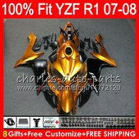8Gifts 23Colors Injection Pour YAMAHA YZF1000 YZFR1 07 08 YZF 1000 37HM6 Or noir YZF-R1 07-08 YZF-1000 YZF R 1 YZF R1 2007 2008 Carénage