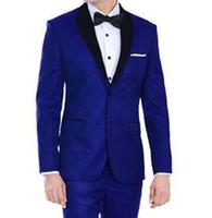 Tradicional Azul Royal Casamento Smoking Para Noivo e Padrinhos de Casamento Xaile Preto Lapela Prom Ternos Dois Botões Dos Homens Ternos (Jacket + Calças)
