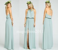 2016 Modest Sage Chiffon Ruffles Long Halter Bridesmaid Dres...