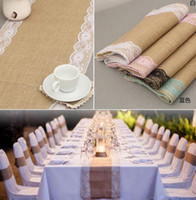 20pcs 30 centímetros * 275 centímetros de serapilheira Lace Vintage Hessian Tabela Runner Natural juta País banquete do casamento Party Decoration Início