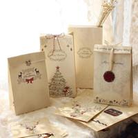 Gros-Joyeux sac de papier kraft de Noël, sacs cadeaux, Fête, Lolly, Faveur, mariage, emballage 22x12x6cm Mix 30pcs / lot