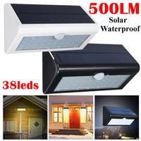 Umlight1688 Étanche IP65 500LM 4W Capteur de mouvement solaire Lumière de sécurité extérieure 38 52 LED Jardin Lampes Noir Blanc Shell