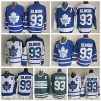 빈티지 토론토 메이플 Doug Gilmour Hockey Jerseys Mens Classic 75 주년 기념 # 93 Doug Gilmour Jerseys 자수 C 패치