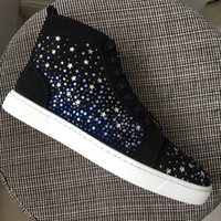 New 2017 mens womens black suede with star rhinestones high ...