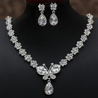 2021 Rhinestone Kristall Drop Halskette Sets Ohrring Überzogene Brautschmuck Set Weiße Hochzeit Ohrringe Günstig Freies Verschiffen Hochzeitszubehör