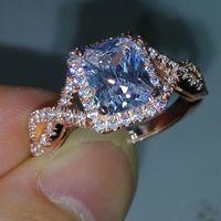Wholesale joyería de lujo 925 plata esterlina rosa plateada princesa blanca topaz cz diamante boda boda mujer banda anillo tamaño 5-11