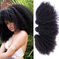 Ucuz 9A Virgin Moğol Sapıkça Kıvırcık Saç Ağartılmış Knot 100% Afro Kinky Kıvırcık İnsan Bakire Saç Demetleri Hiçbir Döşeme Hiçbir Arapsaçı