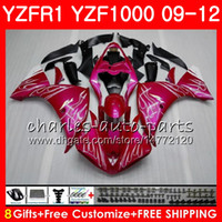 Carrocería para YAMAHA YZF 1000 R 1 YZF-1000 Rosa llamas YZF-R1 09 12 Cuerpo 85NO28 YZF1000 YZFR1 09 10 11 12 YZF R1 2009 2010 2011 2012 Carenado