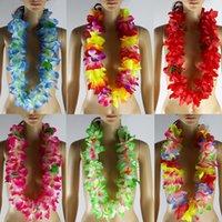 50 piezas Kauai Leis Hawaii Flor Lei 7 Color Luau Flor Collar Garland Hula-Wear Vestido Danza Ducha Decoración Fiesta Envío Gratis