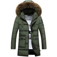 Al por mayor-2016 Hombres de la chaqueta de invierno Parkas cuello de piel larga capa abajo Ropa de algodón Marca ropa masculina Tops de nieve Outwear abrigo cortavientos