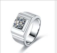 최신 디자인 국제 맨 1 Karat Sona 다이아몬드 링 스털링 실버 백금 도금 하이 엔드 시뮬레이션 다이아몬드가 두꺼워졌습니다.