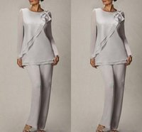 Elegant Silver Chiffon Mother Of the Bride Pant Suits Two Pi...