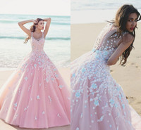 Pink Ball Gown Quinceanera Dresses Scoop Sheer Straps Floral...