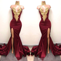 Real Image Burgundy Satin Mermaid Prom Party Dresses 2017 Wi...