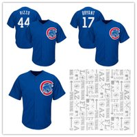 Hommes Chicago Cubs # 44 Anthony Rizzo Maillots # 17 Maillots de baseball 2017 Spring Training Cool Base Broderie Logos Joueur Jersey